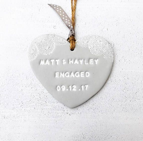 Personalised engagement gift, bride to be, engagement heart, couple gift, engagement present, patterned heart, romance gift, lace heart. These personalised engagement gift hearts are the perfect gift for the newly engaged couple. They can be personalised for any occasion, which