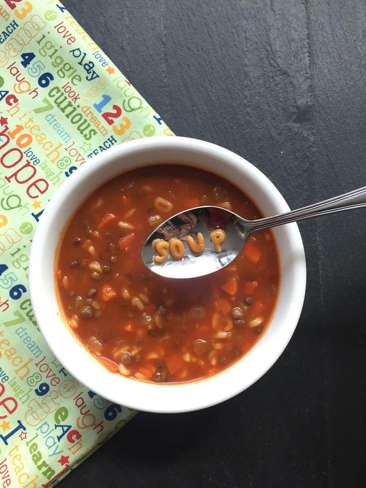 Lentil Alphabet Soup via MealMakeoverMoms.com/kitchen #PulseFeast #LovePulses #IYP2016