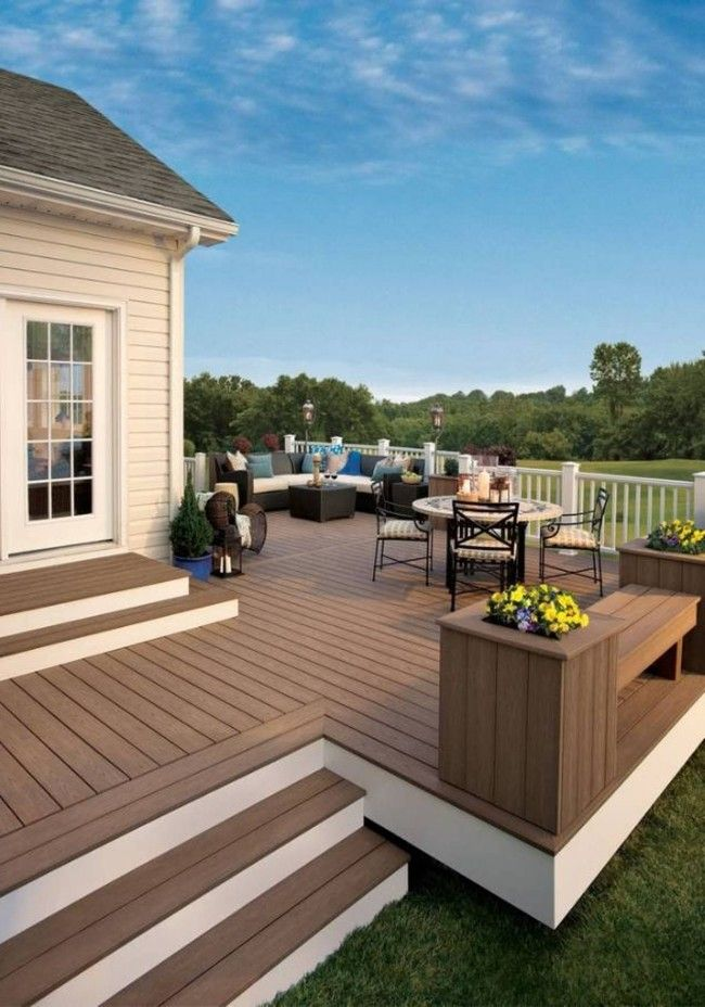 For a free-standing deck, consider painting the risers a light color, while  the decking boards and treads are stained or painted a darker shade.