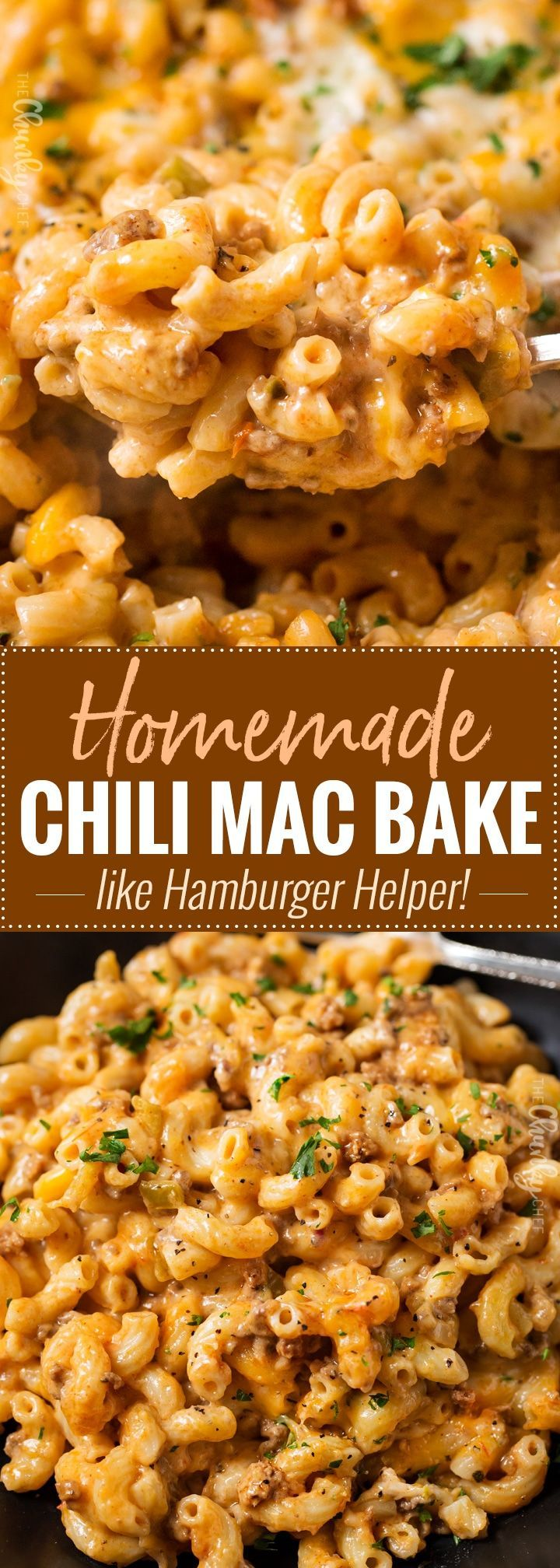 Homemade Chili Mac Bake | Hearty, cheesy, and comfort food the whole family will love! Perfect for a busy weeknight, and leftovers are just as amazing! | http://thechunkychef.com