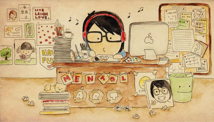 messy workingdesk always be my favorite illustrated by : mentol art freelance illustrator of cute cartoon mentolart.com