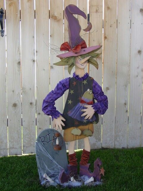 Cute wood Halloween craft Witch