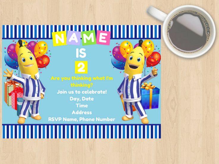 Digital Download Bananas In Pyjamas Kids, Children's, Birthday Invitation, Blue, White, Yellow, Party,TV Show, Cute, Customisable, Boy, Girl by DesignsByMoniqueAU on Etsy