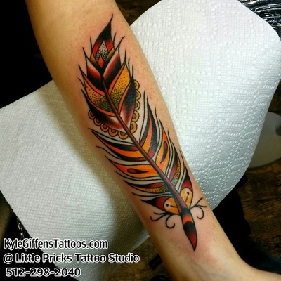 Feather tattoo by Kyle Giffen in Austin Texas at Little Pricks Tattoo Studio. 512-502-4591