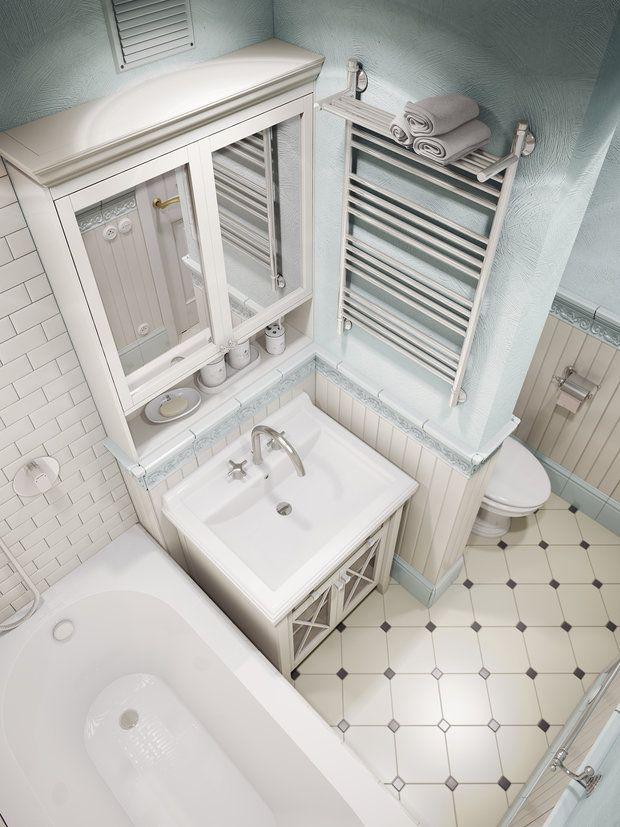 На трех с половиной квадратных метрах дизайнер Анна Теклюк обустроила удобный и функциональный санузел: нашлось место для полноценной ванны и многочисленных систем хранения