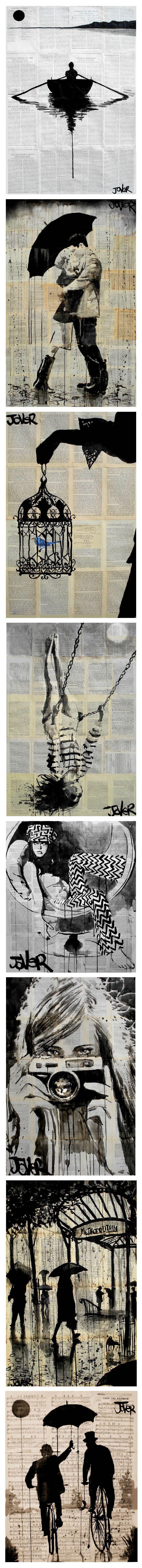 Arte por Loui Jover - En Saatchi Online Me encanta la música y la hoja de periódico usado en los fondos !: