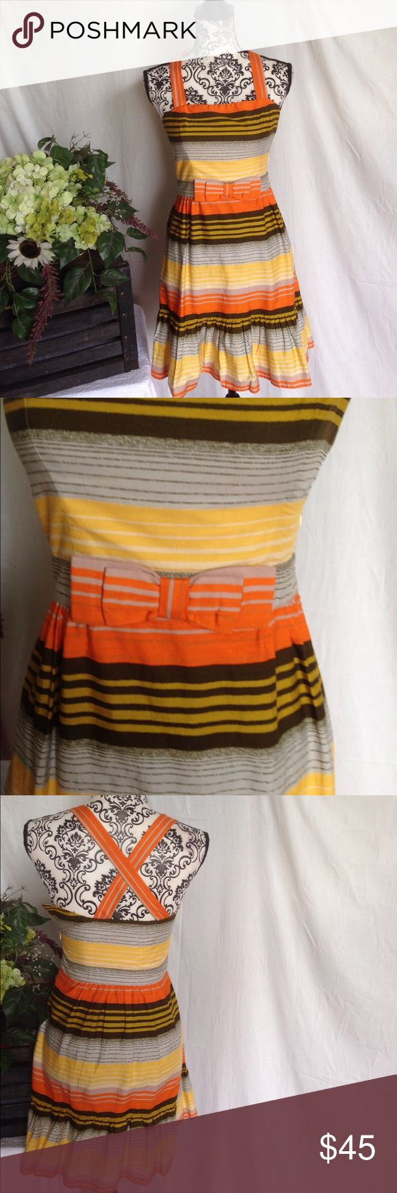 French Connection Cheerful Striped Dress Size 2 (doesn't fit my mannequin lol) cheerful sunset colors. Striped. Bow at waist. Criss cross back. French connection. No flaws. Free gift. French Connection Dresses Midi