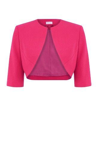 Raspberry Moss Crepe Bolero, matching effortless chic with expert petite tailoring.