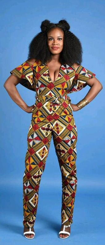"NEW Rita Cape Jumpsuit- African print clothing. Handmade item Materials: cotton, wax print, African Print, Ankara print Ships worldwide from Canada. African print cape jumpsuit 2 side pockets  deep v neck cut out cape sleeves Back invincible zipper 100% cotton wax print with no stretch . model is 5""7 tall  READY TO SHIP. African fashion, ankara, african fabric,  fashion blogger (affiliate)"