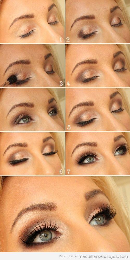 Tutorial con fotos paso a aso para aprender a maquillarse los ojos azules y verdes