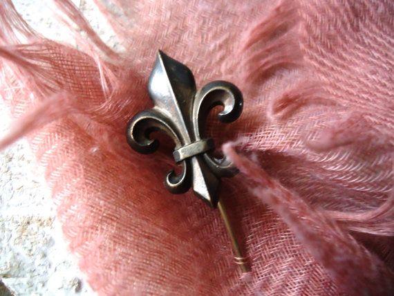 French antique fleur de lis tie or hat pin by LizKnijnenburg