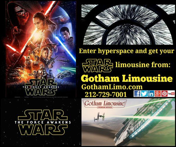 Got your ticket for the Star Wars: The Force Awakens premier in NYC? Enter hyperspace and get your Star Wars limo in NY from Gotham Limo in New York, NY! Secure Online Reservations: https://www.gothamlimo.com Call 212-729-7001 and may the Force be with you.
