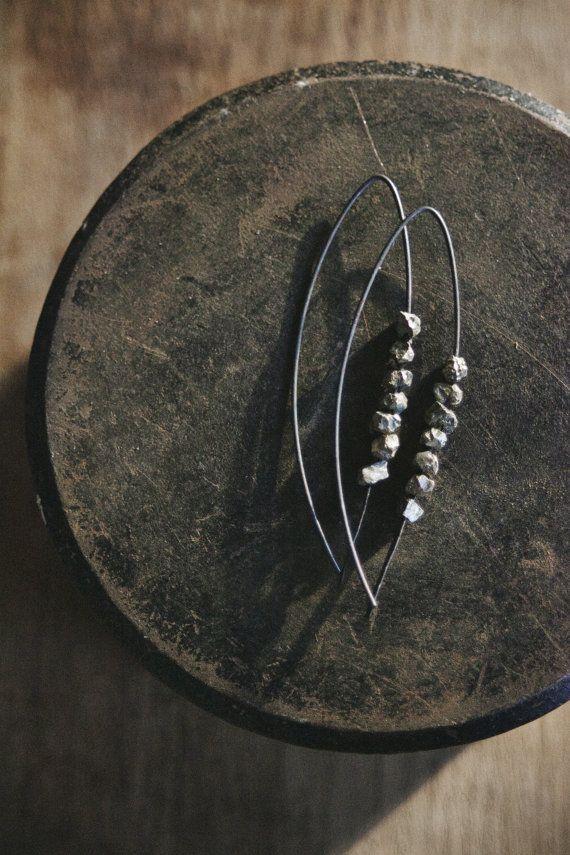 Oxidized Silver Earrings / Sterling Silver / Pyrite Gemstone