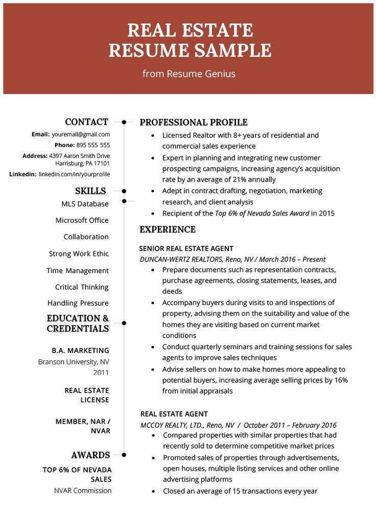 Real Estate Agent Resume Job Description Inspirational