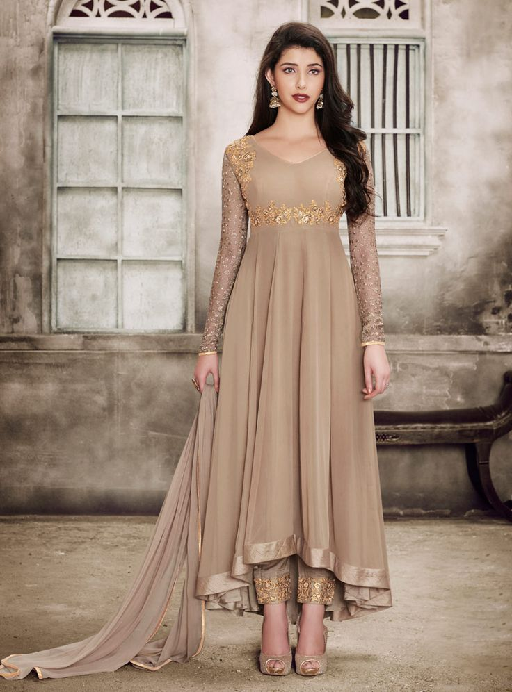 Buy Beige Georgette Anarkali Suit 90676 online at lowest price from vast collection at m.indianclothstore.c.