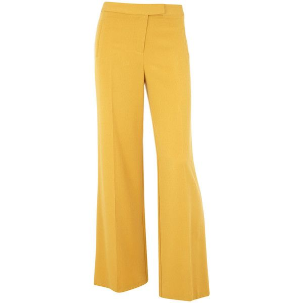 Yellow 70s flare pants (1640 DZD) ❤ liked on Polyvore featuring pants, bottoms, trousers, calças, jeans, women's clothing, dorothy perkins, yellow trousers, flare pants and yellow pants