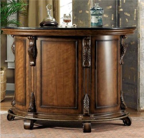 Tuscan Old World Style Home Decor Wine Liquor Mini Bar Pub Wood Cabinet Storage