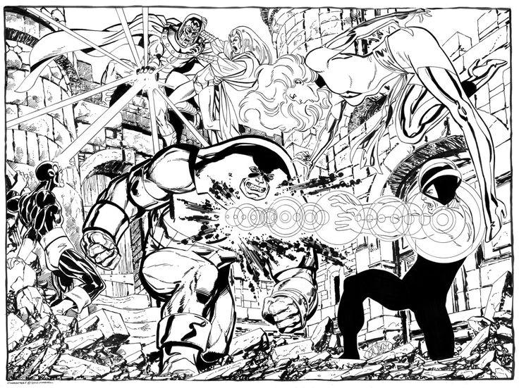 Magneto & Juggernaut Vs Cyclops, Phoenix, Polaris & Havok commission by John Byrne. 2010.