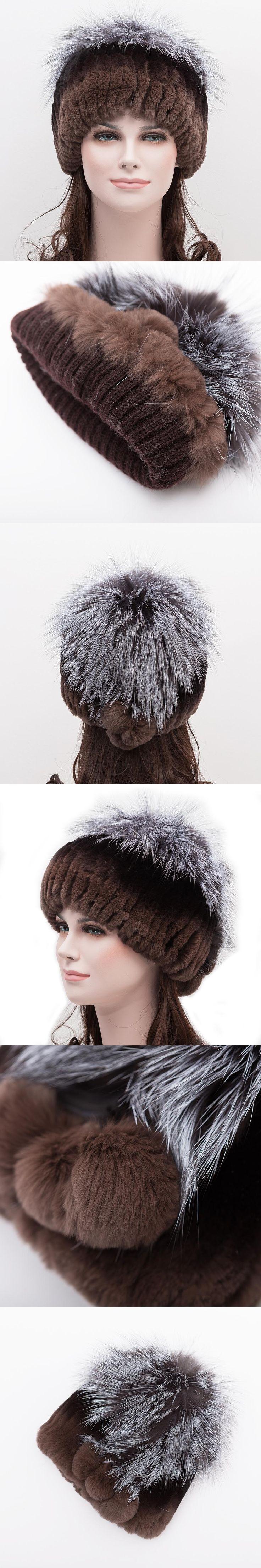 Women's hat real rabbit fur hat for women winter silver fox fur rabbit fur Russia russian fur hat hot  female brand warm cap