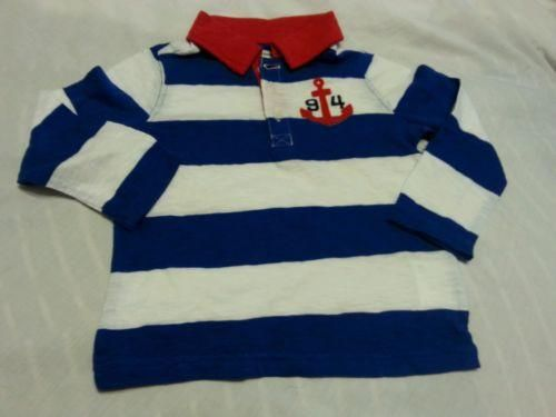 Boy Polo Tee Shirt Sz 2T Old Navy Red White Blue Long Toddler Kids Baby