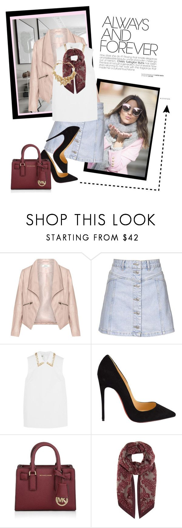 """Mini denim"" by lindagama ❤ liked on Polyvore featuring Zizzi, Topshop, Miu Miu, Christian Louboutin, Michael Kors, Loro Piana, Oscar de la Renta, women's clothing, women and female"