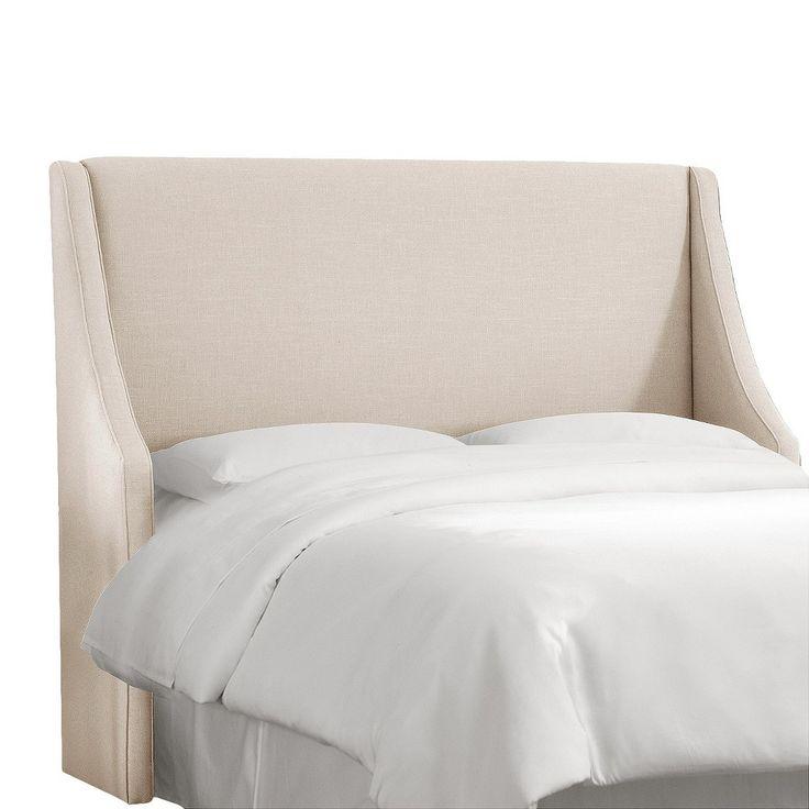 Custom Upholstered Swoop Wingback Headboard - Linen Talc - California King  - Skyline Furniture