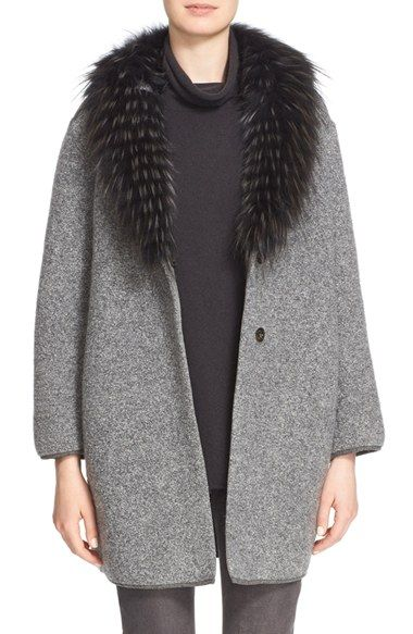 Fabiana Filippi Bouclé Cocoon Coat with Genuine Fox Fur Collar