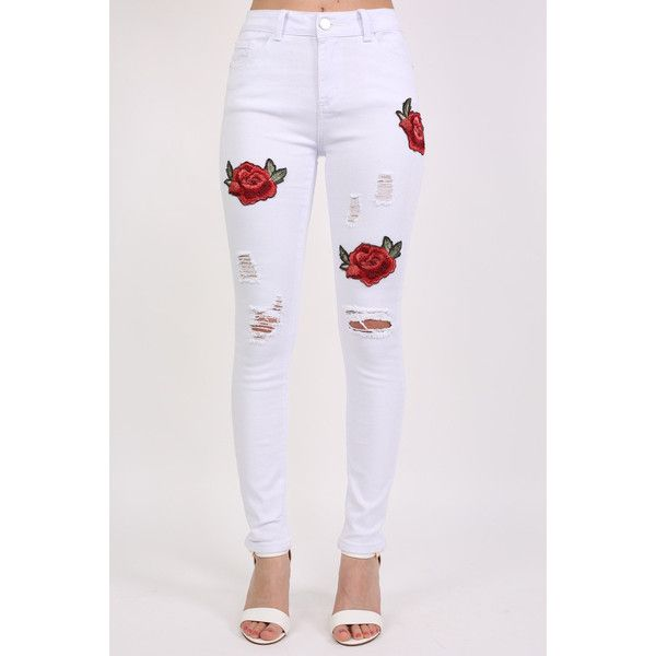 Pilot Floral Embroidered Ripped Skinny Jeans ($70) ❤ liked on Polyvore featuring jeans, pants, white, white jeans, distressed jeans, flower embroidered jeans, white destroyed skinny jeans and white skinny leg jeans