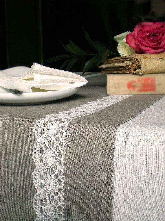 Easter Linen Table Runner Natural Linen Table by LinenLifeIdeas