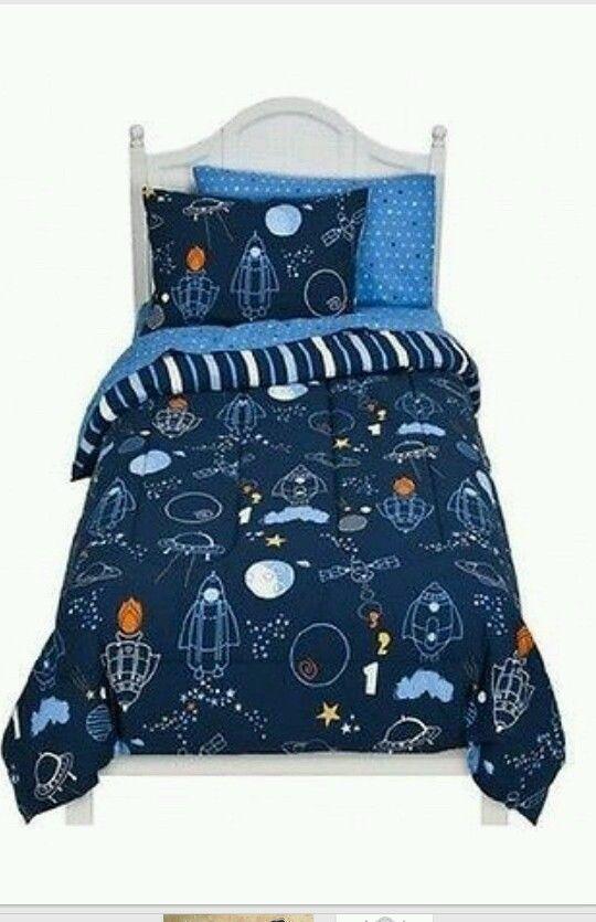 Circo TODDLER Bed Set SHEET COMFORTER Boy blast off rocket outer space ship  star