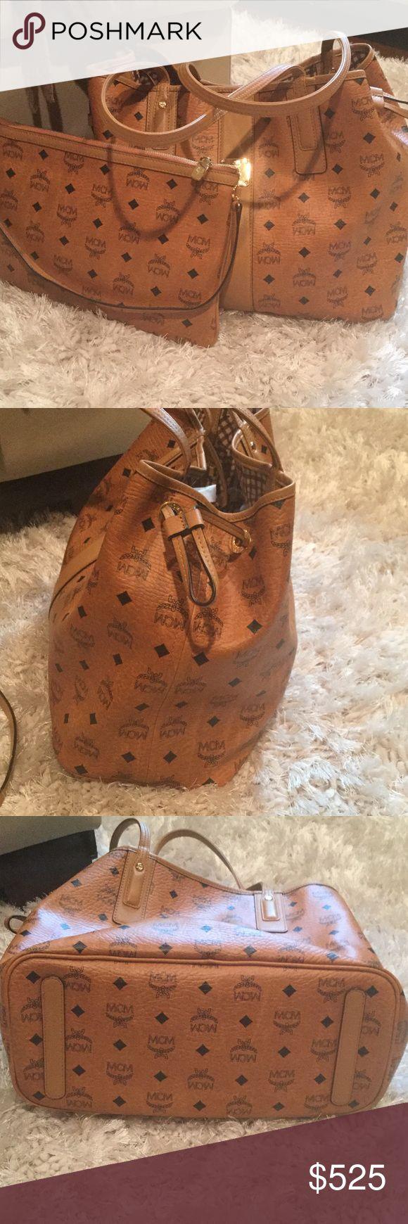 """MCM Shopper MCM Medium Liz Shopper. Color: Cognac. Reversible. Includes MCM Dust bag. Excellent condition. Includes zip pouch with shoulder strap.  Measurements: 9"""" Drop- 12""""H x 13""""W x 6""""D Pouch: 8""""H x 11"""" W ❌❌No Trades MCM Bags Totes"""