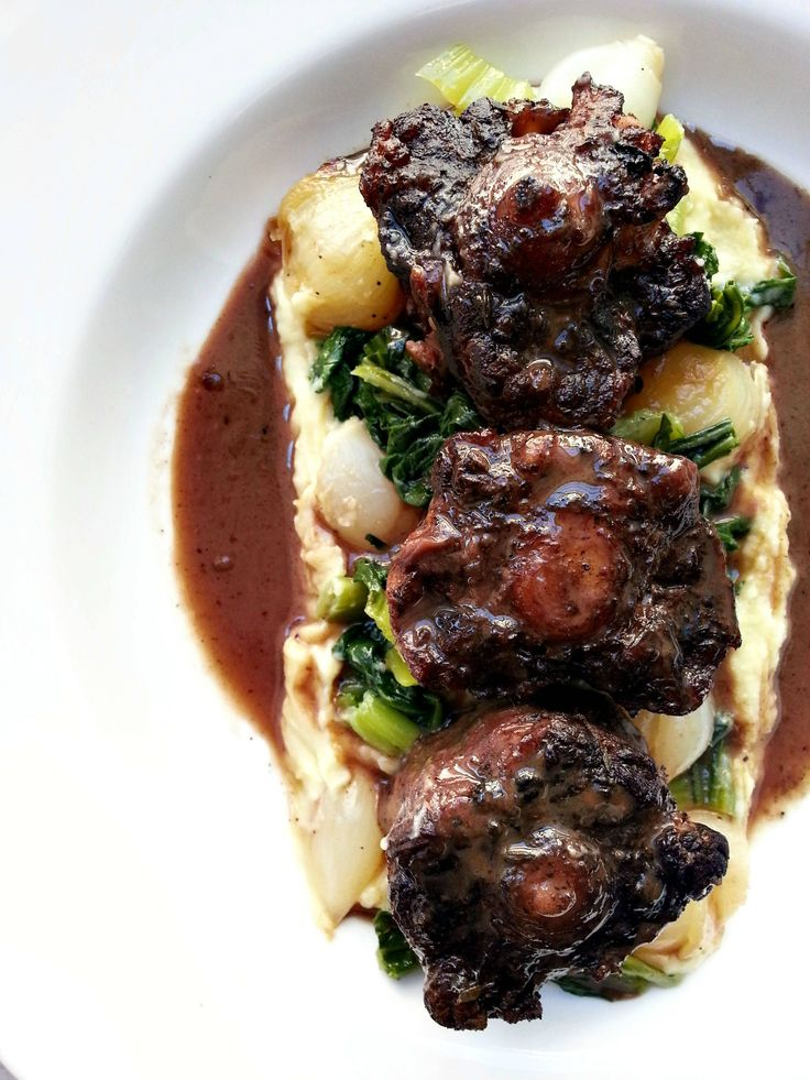 Braised Oxtails with Potato Puree & Horseradish Cream