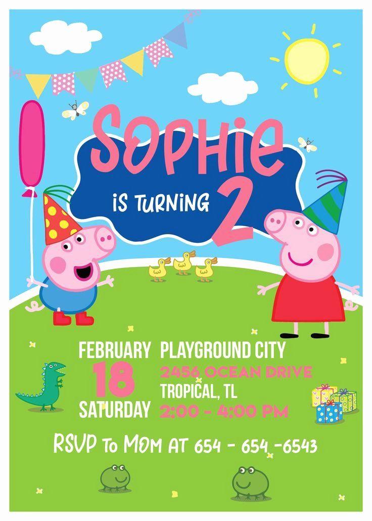 Personalised Digital Invitation Peppa Pig Birthday Invite
