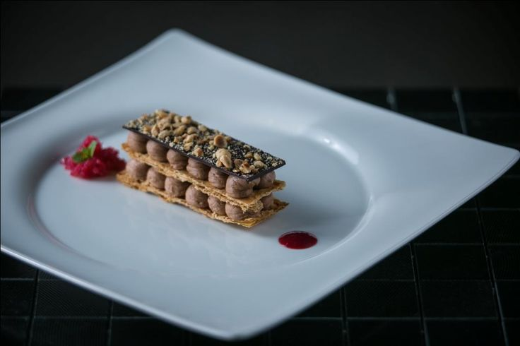 Hazelnut pralined mille feuille with blackberry caviar