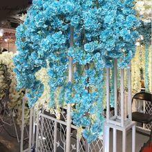 NIEUWE 2016 mooie kunstmatige kersenbloesems bloem zijde wisteria wijnstokken bruiloft decoratie boeket 1 stks(China (Mainland))