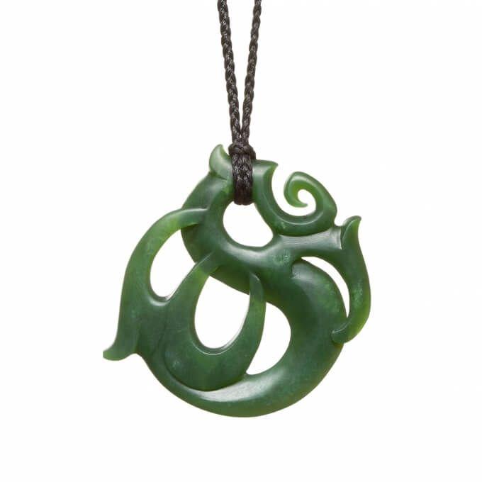 New Zealand pounamu circular manaia necklace crafted by Mountain Jade craftsman Tamaora Walker.