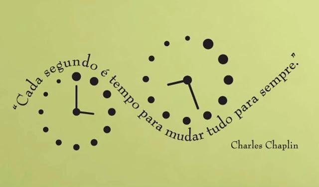 ''Cada segundo é tempo para mudar tudo para sempre.'' -Charles Chaplin