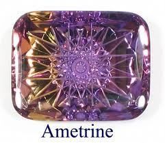 ∆ Ametrine...is a combination of Amethyst and Citrine in the same stone. It is a member of the quartz family, and is found in Brazil, Uruguay and Bolivia. Ametrine energies are said to stimulate the intellect and rid the aura of negative energy. It is also said to be helpful for releasing negative emotional programming. More at http://www.crystalchannelers.com/blog/crystal-healing---ametrine/