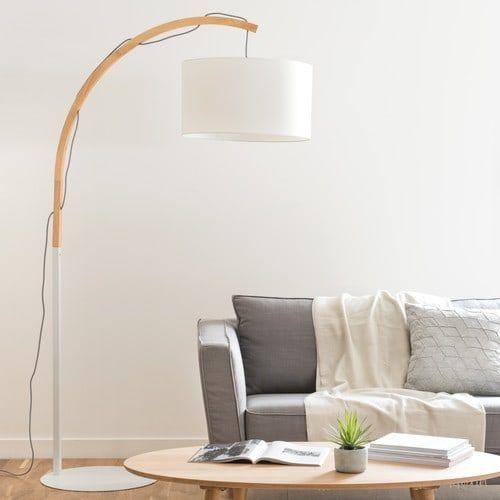 Lampadaire abat-jour coton blanc H.190cm ASKEL