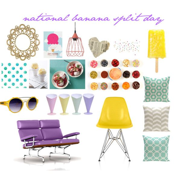 National Banana Split Day by smartfurniture on Polyvore featuring interior, interiors, interior design, home, home decor, interior decorating, Bob Mackie, YHF, modern and accessories