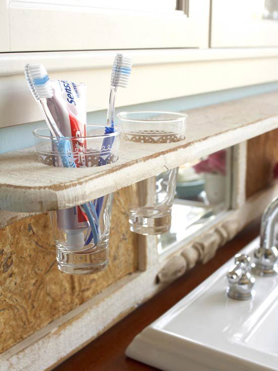 Create handy holders for glasses by drilling holes in a shelf. To cut circles up to 3 inches in diameter, use hole saw. Drill the center of each hole with a standard bit, and then switch to the hole saw. Drop in decorative glasses as holders for toothbrushes or other frequently used items. Simply pop the glasses out of the shelf and into the dishwasher.