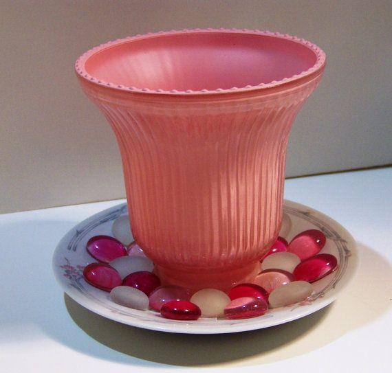Repurposed Pink Light Shade Planter Glass Globe by handcreated4u
