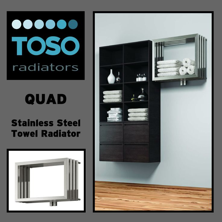'Quad' Stainless Steel Towel Radiator.  We're loving these, a great solution.   #Brushed #Stainless #Steel #Towel #Radiator