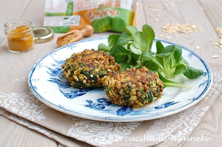 Polpette vegetariane al curry con lenticchie, semi di lino e spinaci