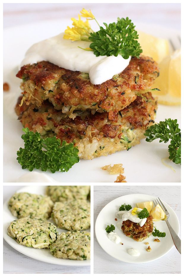 A great veggie main course idea for a meatless Monday meal, why not try these healthy zucchini quinoa patties with refreshing herbed yogurt sauce.