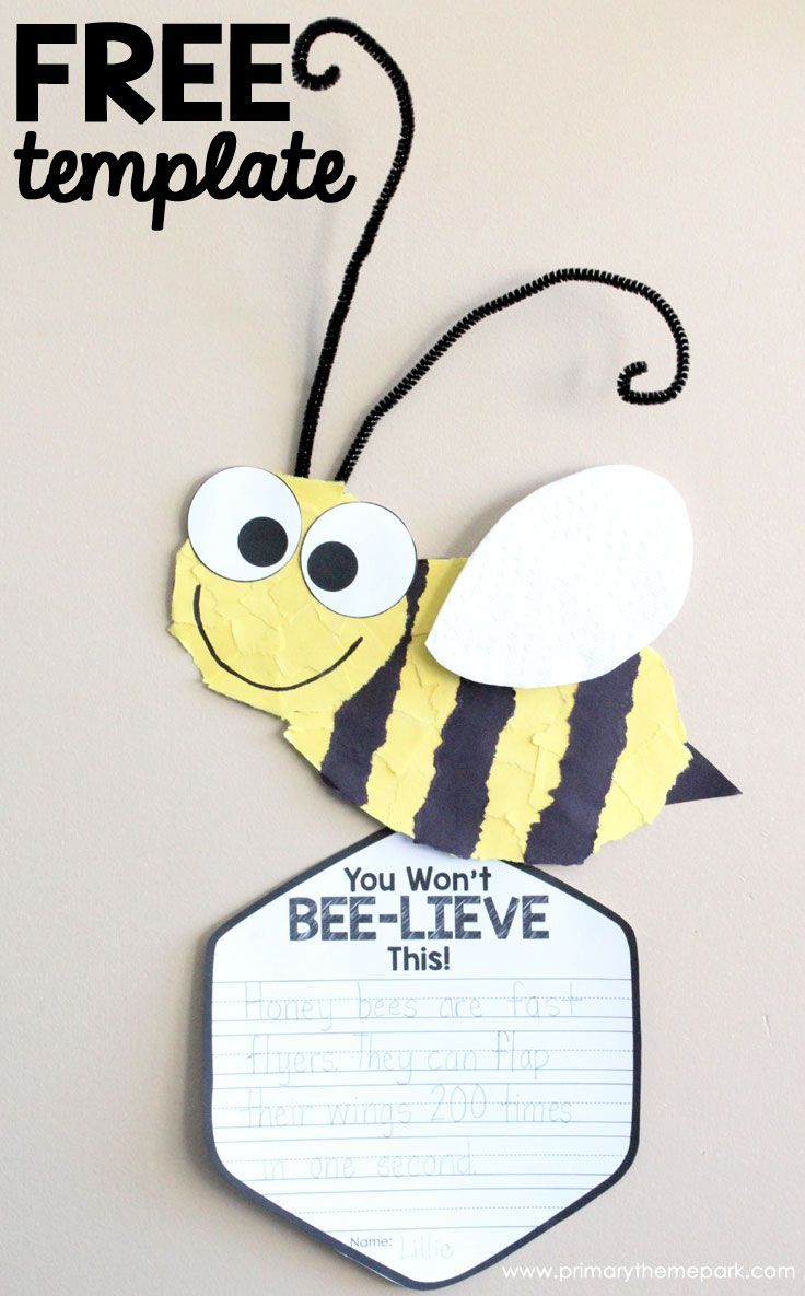 Free Printable Torn Paper Bee Craft for Kids | Bee Writing Activities | Insect Craft for Kids