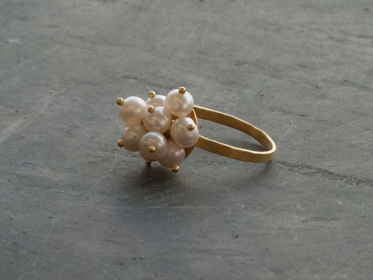 Pearl Cluster Ring, 18 Karat Gold Ring, Pearl Cocktail Ring, White Pearl Delicate Gold Ring, June Birthstone Ring, Wedding Pearl Ring Size 7 by SunSanJewelry on Etsy https://www.etsy.com/listing/219389126/pearl-cluster-ring-18-karat-gold-ring