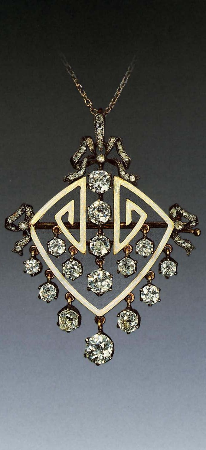 Faberge diamond brooch / pendant, 1899 - 1908, gold, silver, diamonds, rose cut diamonds, guilloche enamel, 4.8 x 3.9 cm, by Оружейная Палата, Moscow