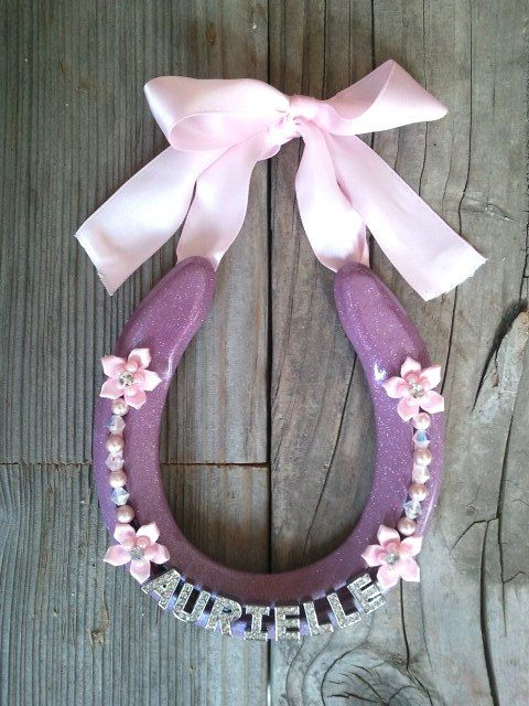 Girl Decorated Horseshoe for Home or Nursery by EECustomHorseShoes
