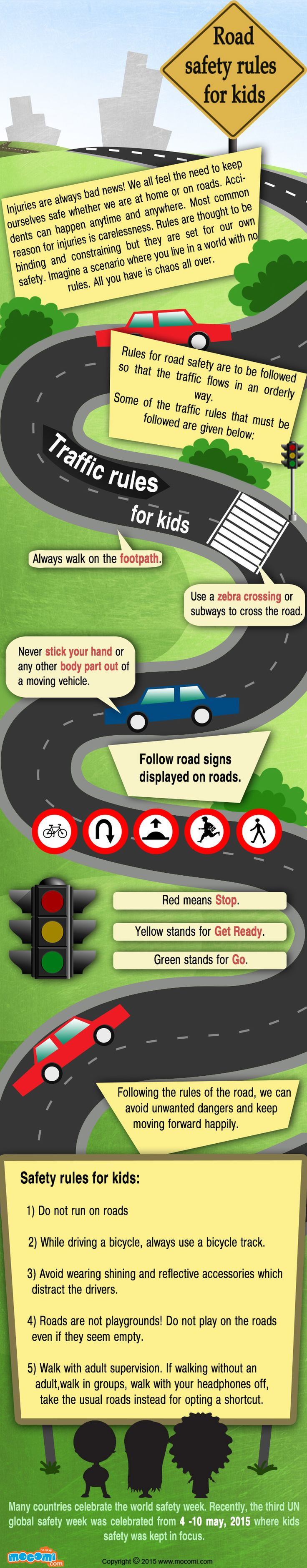Rules for road safety are to be followed so that the traffic flows in an orderly way. 5 Important Road Safety Rules for Kids!